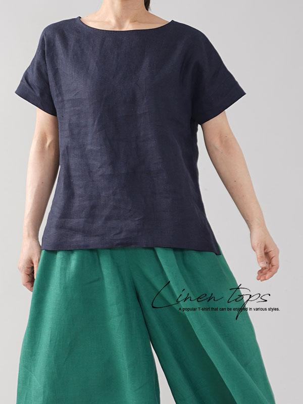中厚地 リネン Tシャツ 半袖 トップス ドロップショルダー リネンTシャツ 麻 丸首 クルーネック  ネイビー M t014a-neb2