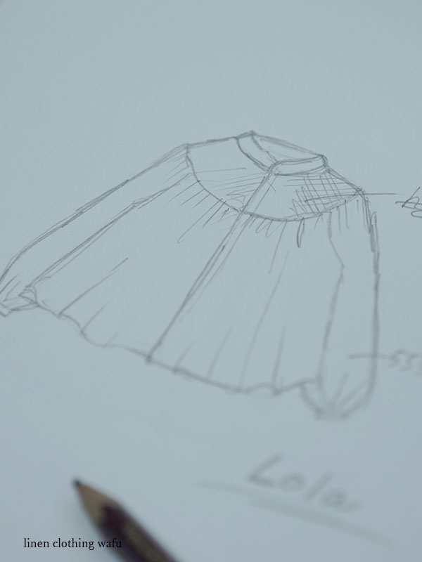 Lola (ロラ) Embroidered linen shirt/ t014c