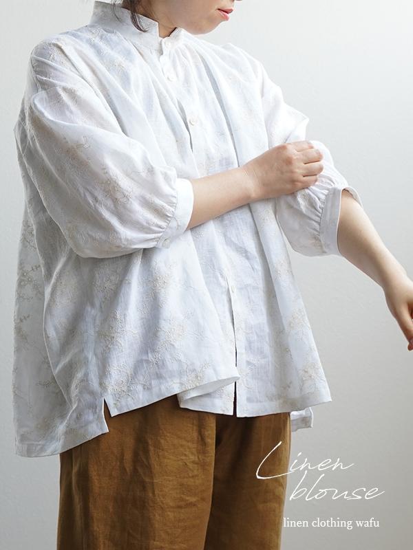 石川県産 刺繍リネン ブラウス スタンドカラー やや薄地/花柄刺繍01 ホワイト t015b-hgs1