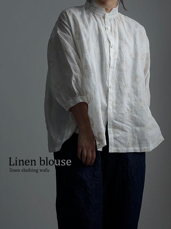 【wafu】Linen Shirt サークル刺繍 シャツ / ホワイト t015b-ssw2