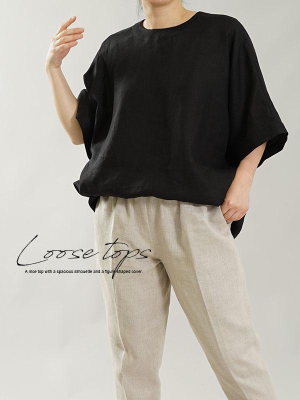 薄地 リトアニアリネン ドロップショルダーvリネンブラウス 襟ぐり小さめ ゆったり チュニック トップス / ブラック
