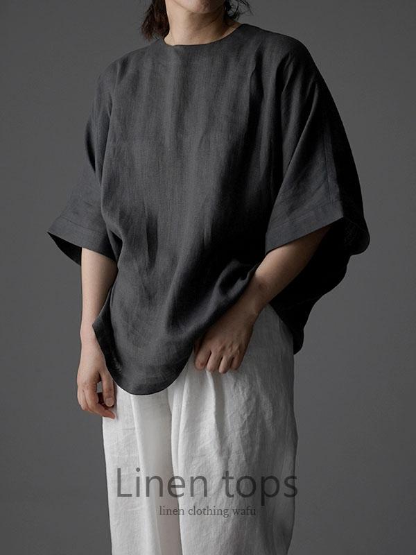 薄地 リトアニアリネン ドロップショルダー リネンブラウス 襟ぐり小さめ ゆったり チュニック トップス Tシャツ / インクブラック t016g-ibk1