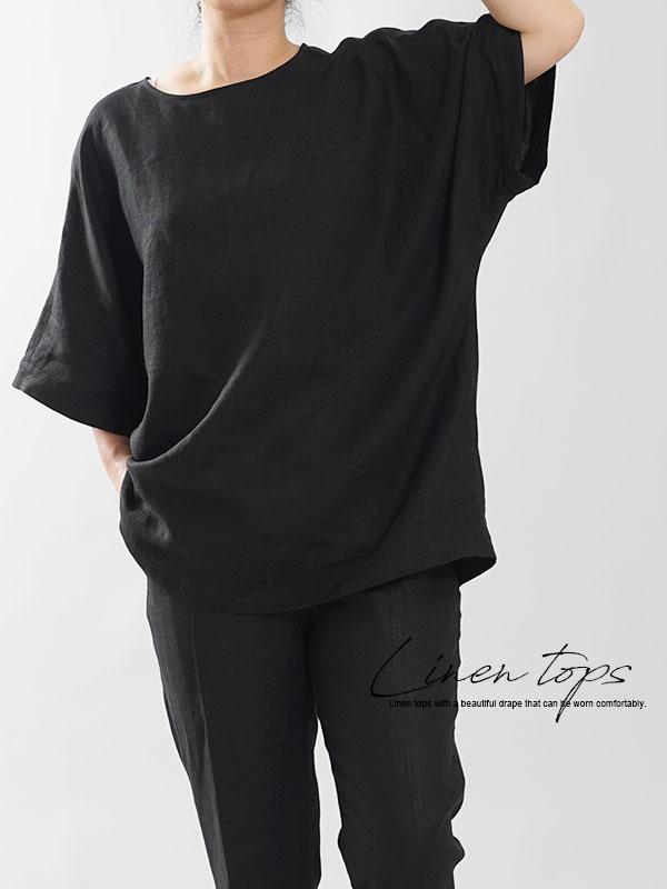 薄地 リネンブラウス ビックTシャツ ドロップショルダー 丸首 クルーネック ゆったり チュニック ブラック free t016i-bck1