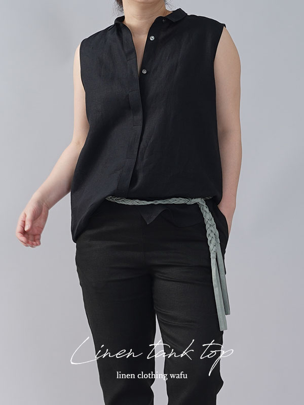 やや薄地 リネン ちび襟 ノースリーブ 比翼シャツ インナーとしても リネンタンクトップ リネン シャツ /ブラック【M-L】t018a-bck1