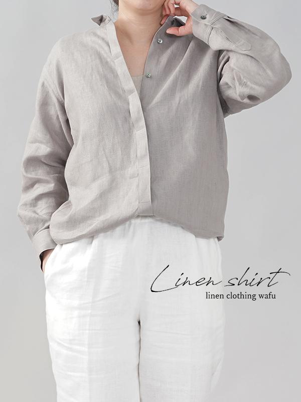 中厚 比翼リネンシャツ 長袖 ちび襟 リネンシャツ カフス袖 ロング丈 ミニ襟  アッシュパール free t018c-asp2