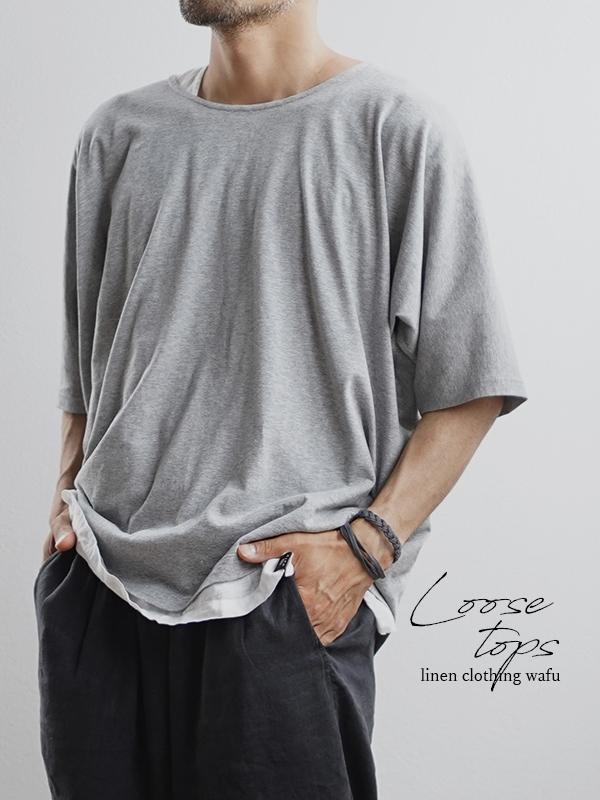 【見習製作品】とろみ リネン混Tシャツ 男女兼用 楽々ドルマンカットソー 丸首 薄地 #training/杢グレー t020h-mgr1