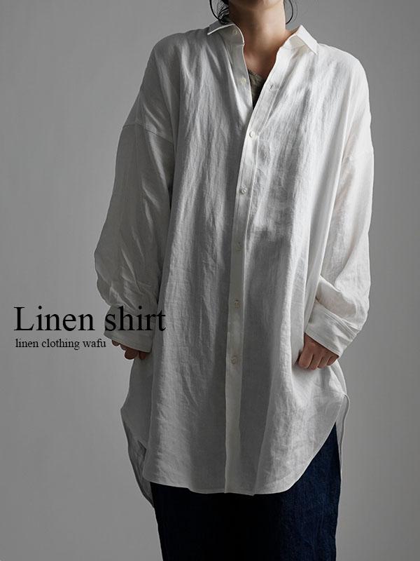 【wafu】Linen Oversized Shirt ビックシルエット シャツ / ホワイト t021a-wht1