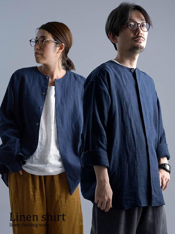 【wafu】Oversized Linen shirt 比翼ビックシャツ 男女兼用 / 留紺 t021e-tmk1
