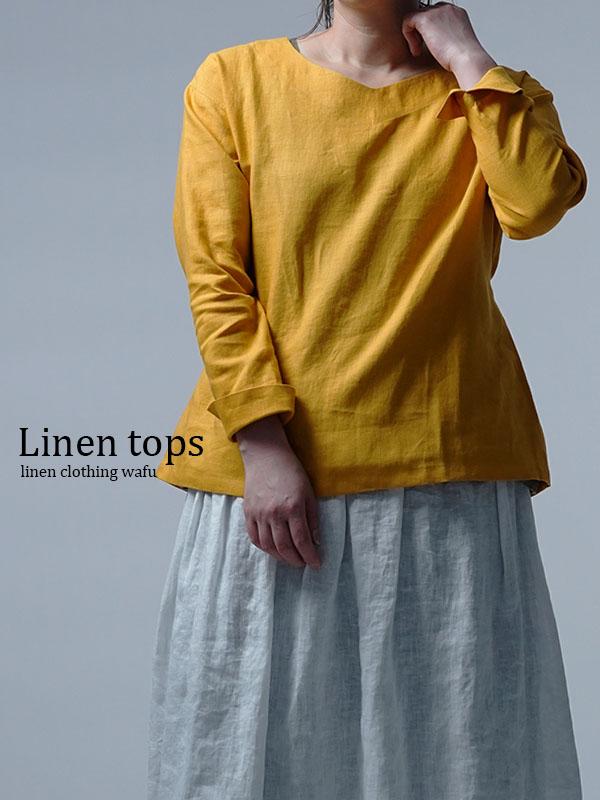 【wafu】Linen Top ブラウジング トップス / 山吹色 t025h-ybk1