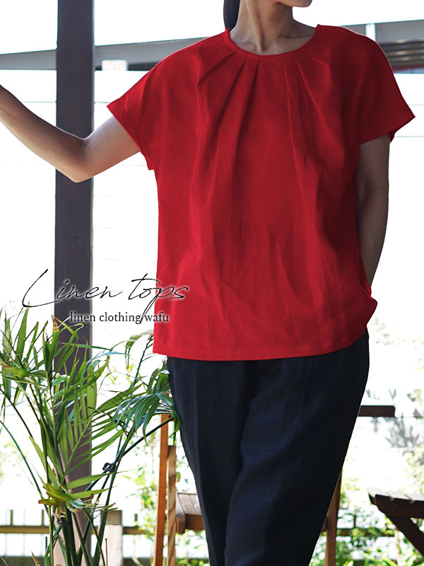 中厚 リネンブラウス タック Tシャツ チュニック 半袖 後ろボタン / ルージュ【M-L】t026a-rgu2