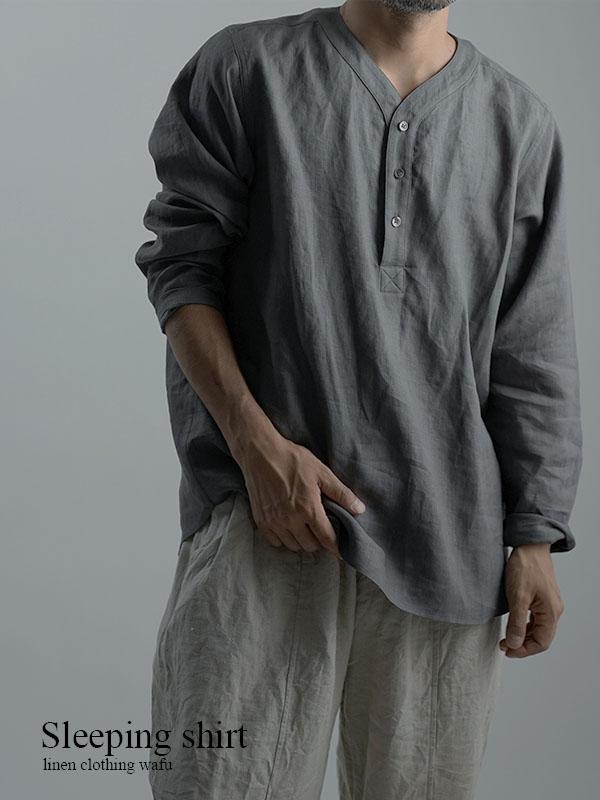【wafu】Linen Shirt スリーピングシャツ 男女兼用 / 鈍色(にびいろ) t030c-nibi1