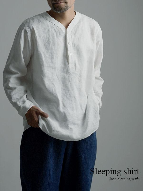 【wafu】Linen Shirt スリーピングシャツ 男女兼用 / 白色 t030c-wht1