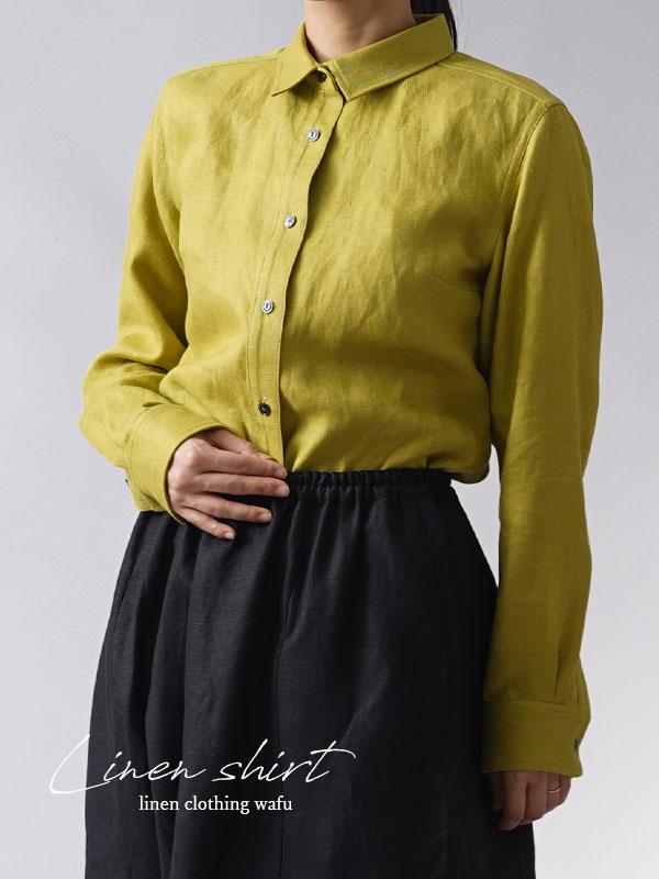 【wafu premium linen】丈短め wafu史上最高の上質リネンシャツ セットインスリーブ/シャトルーズグリーン【サイズ】t031a-sgn2