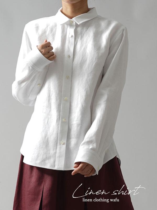 【wafu premium linen】丈短め wafu史上最高の上質リネンシャツ セットインスリーブ プレミアム/ホワイト【L】t031a-wht2