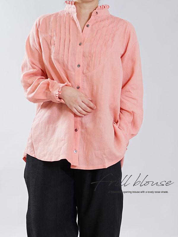 薄手 リネン ピンタック フリル シャツ ブラウス リトアニア ラグランスリーブ 長袖 トップス / ウィスタリアパープル