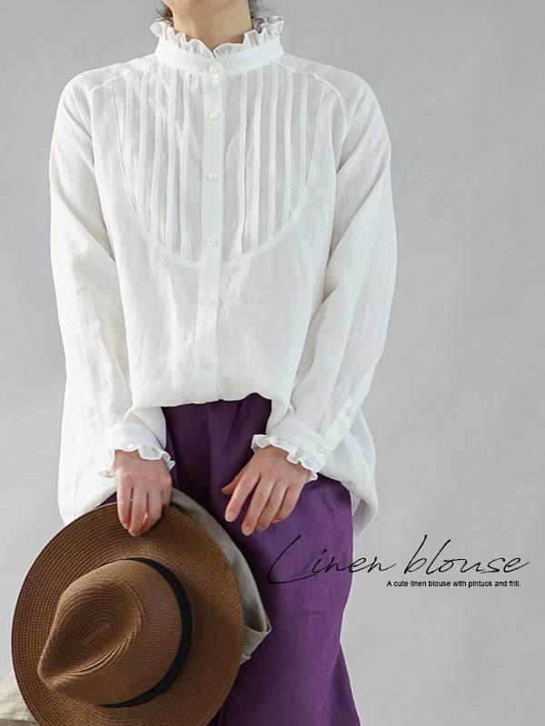 薄手 リネン ピンタック フリル シャツ ブラウス リトアニア リネン100% フェミニン ラグランスリーブ 長袖 トップス / ホワイト