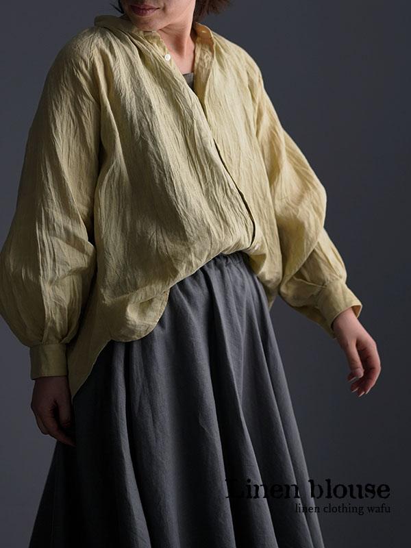 雅亜麻 linen shirt リネンシャツ 薄地 60番手 ハンドワッシャー / 金糸雀色(かなりあいろ) t034a-kou1