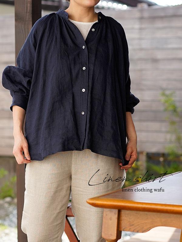 薄地 雅亜麻 リネンシャツ 本格 premium シャツ ブラウス ラグランスリーブ リネントップス / 紺青(こんじょう)