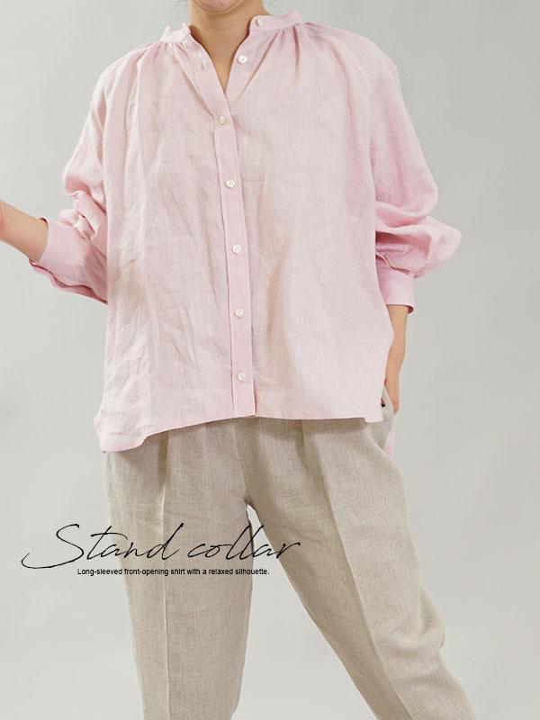 薄地 雅亜麻 リネンシャツ 本格 premium シャツ ブラウス ラグランスリーブ トップス / 桜色(さくらいろ)