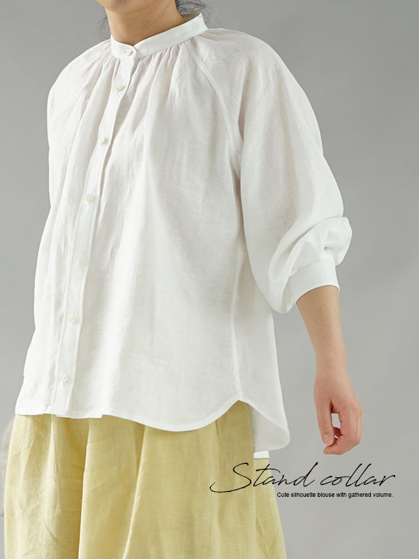 薄地 雅亜麻 リネンシャツ 本格 premium シャツ ブラウス ラグランスリーブ リネントップス / 白