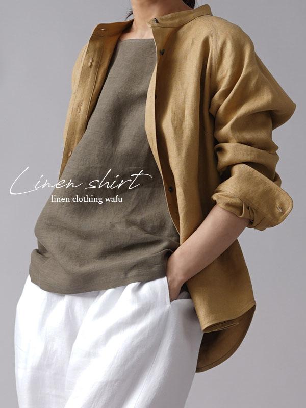 【wafu premium linen】丈短め スタンドカラーシャツ wafu史上最高の上質リネン/シャンパン【M-L】t034b-cmp2