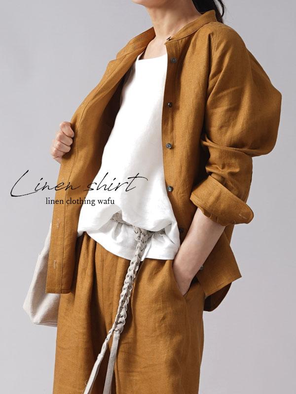 【wafu premium linen 】丈短め スタンドカラーシャツ wafu史上最高の上質リネン ラグランスリーブ/デリーブラス【M-L】t034b-drs2