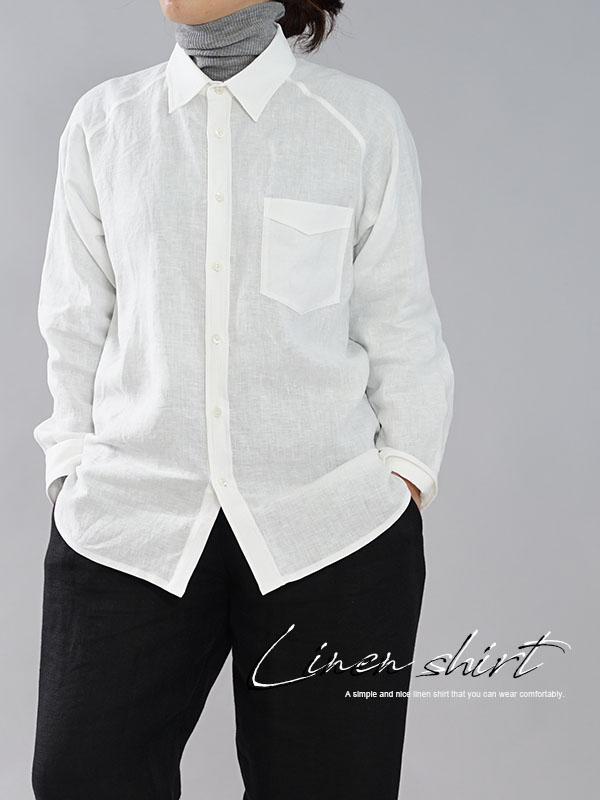 薄手 雅亜麻 リネン プレミアム メンズ シャツ ラグランスリーブ 剣ボロ 本格作り 手付けボタン 長袖 トップス メンズライク / 白色