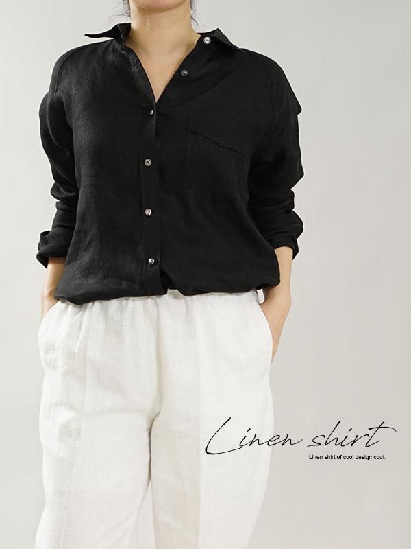 中厚 リネン 本格シャツ Wガーゼ リネン100% メンズライク ラグランスリーブ 黒シャツ 長袖 / ブラック