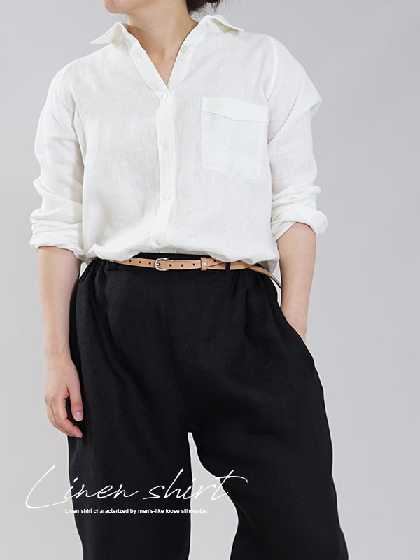 中厚 リネン 本格シャツ Wガーゼ リネン100% メンズライク ラグランスリーブ 白シャツ 長袖 / オフホワイト