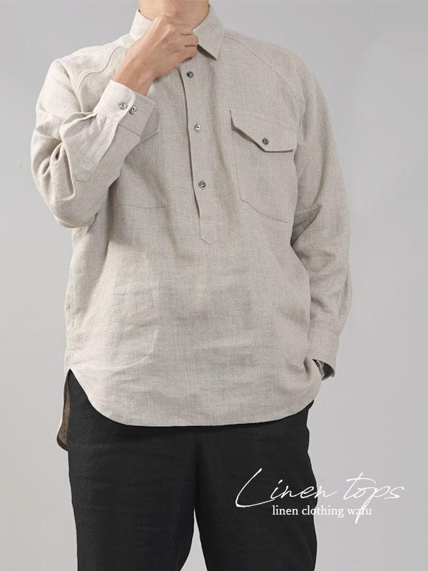 【wafu】中厚 リネン プルオーバーシャツ ラグランスリーブシャツ 両脇ポケット仕様 男女兼用/亜麻ナチュラル【M-L】t035f-dbj2-m