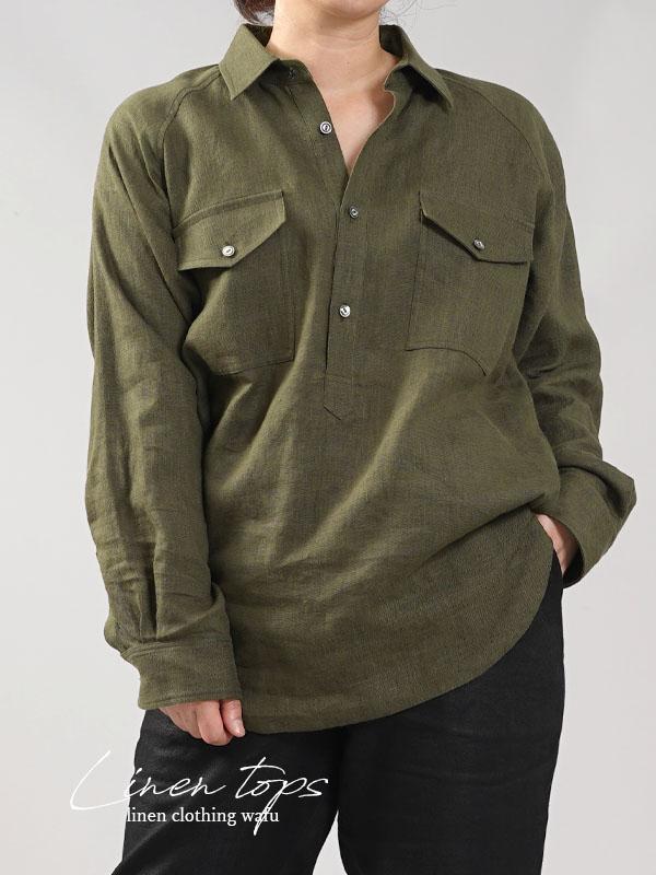 【wafu】中厚 リネン プルオーバーシャツ ラグランスリーブシャツ 両脇ポケット仕様 男女兼用/カーキ【M-L】t035f-khk2