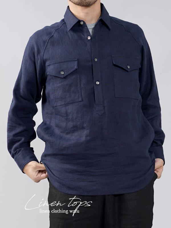 【wafu】中厚 リネン プルオーバーシャツ ラグランスリーブシャツ 両脇ポケット仕様 男女兼用/ネイビー【M-L】t035f-neb2-m