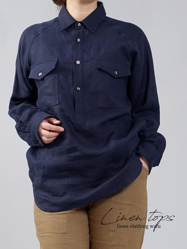 【wafu】中厚 リネン プルオーバーシャツ ラグランスリーブシャツ 両脇ポケット仕様 男女兼用/ネイビー【M-L】t035f-neb2-w