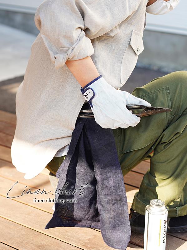 中厚 リネン シャツ・ブラウス キャンプ アウトドアに 長袖 カフス袖 男女兼用 /亜麻ナチュラル【S/M/L】t035g-amn2