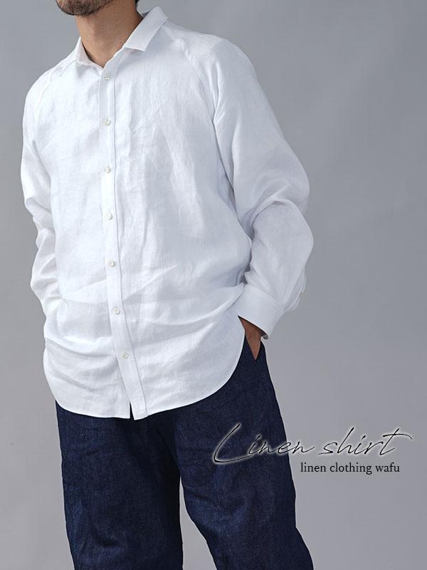 メンズシャツ 長袖シャツ リネンシャツ t035i-wht2