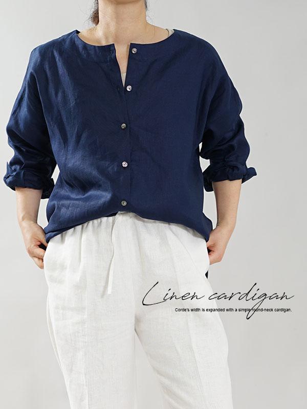 薄手 リネン ブラウス 2wey 袖カフス 丸首 トップス ボレロ 羽織 シャツ ノーカラー / オリエンタルブルー