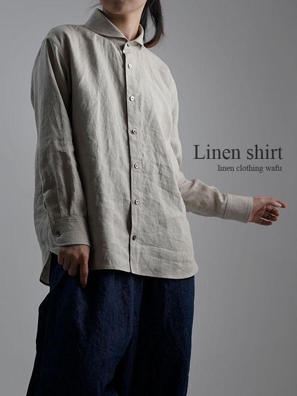 Linen Shirt  ショールカラーシャツ / 亜麻ナチュラル t036b-amn1
