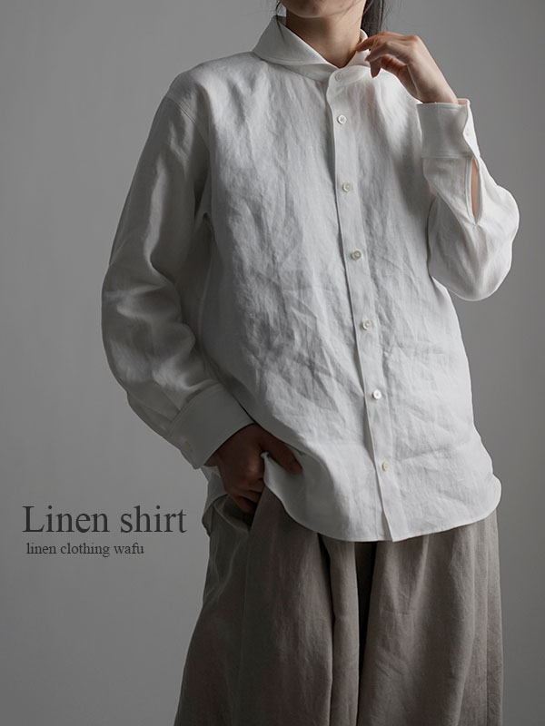 Linen Shirt  ショールカラーシャツ / 白色 t036b-wht1