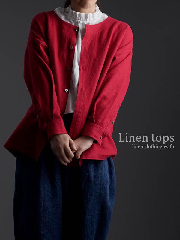wafu Premium Linen 起毛 ノーカラーシャツジャケット / クリストローゼ t036c-ctr3