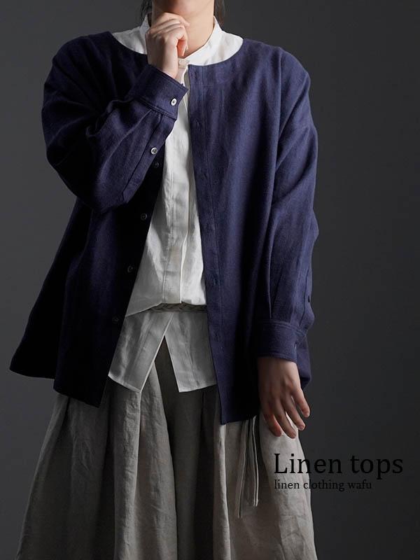 wafu Premium Linen 起毛 ノーカラーシャツジャケット / ネイビー t036c-neb3