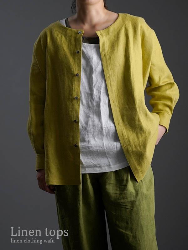 wafu Premium Linen 起毛 ノーカラーシャツジャケット / シャルトリューズグリーン t036c-sgn3