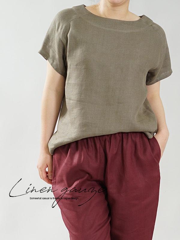 中厚 リネン Tシャツ ブラウス ふんわり リネン100% Wガーゼ トップス ラグランスリーブ 丸首 裾スリット 万能 / カーキ