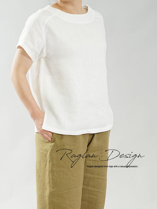 中厚 リネン Tシャツ ブラウス ふんわり リネン100% Wガーゼ トップス ラグランスリーブ 丸首 裾スリット 万能 / オフホワイト