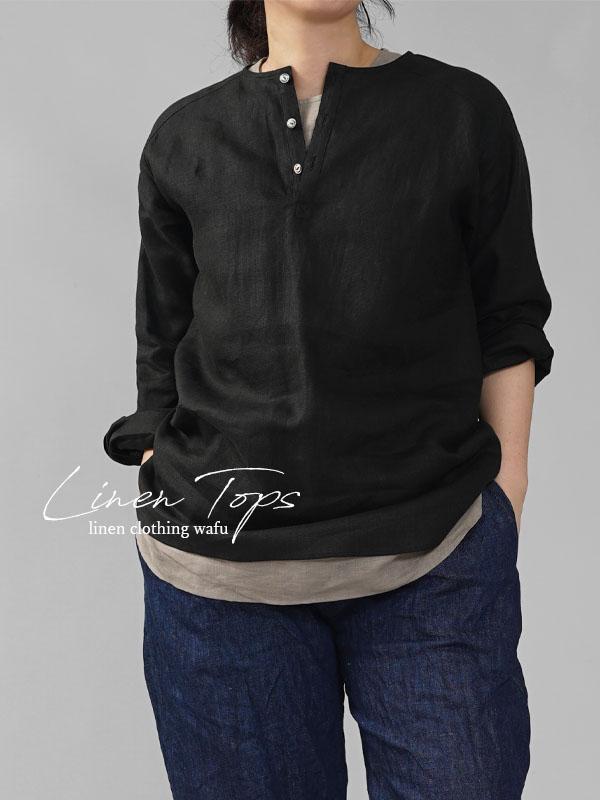 【wafu】男女兼用 中厚地 リネンシャツ ラグラントップス  ヘンリーネック  ラグランスリーブ  タック/ブラック【free】t038e-bck2
