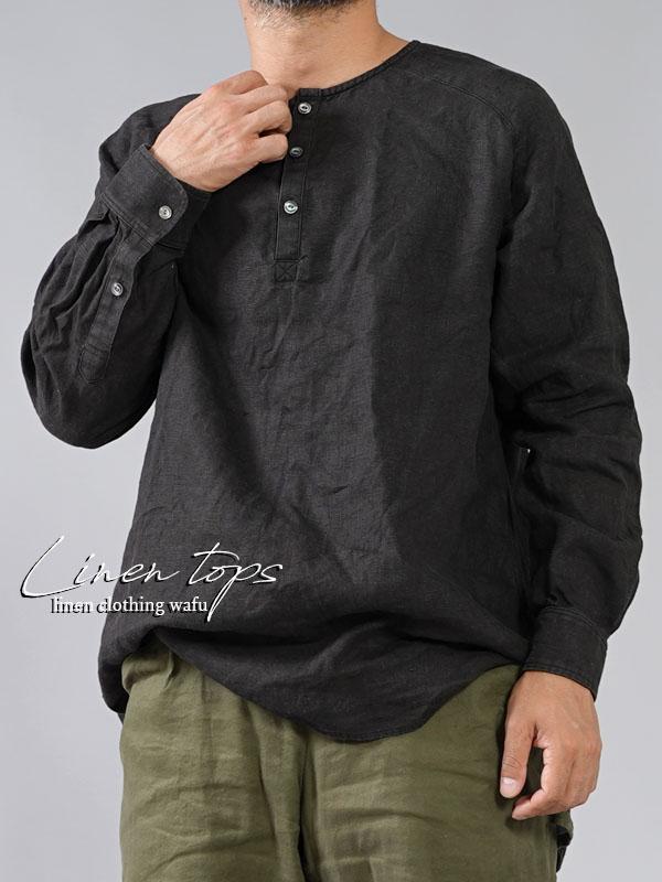 【wafu】中厚地 リネンシャツ ヘンリーネック ラグランスリーブ カフス袖 長袖 メンズ/ブラック【free】t038e-bck2-m