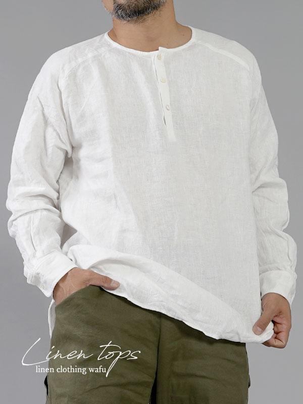 【wafu】中厚地 リネンシャツ ヘンリーネック ラグランスリーブカフス袖 長袖 メンズ/ブラック【free】t038e-wht2-m