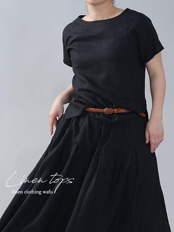 やや薄地 リネン Tシャツ リネンブラウス リネントップス リネンTshirt 男女兼用/黒色【M-L】t038f-bck1