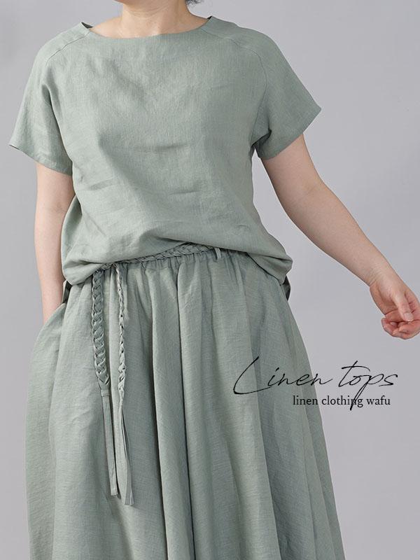 やや薄地 リネン Tシャツ リネンブラウス リネントップス リネンTshirt 男女兼用/青磁鼠(せいじねず)【M-L】t038f-snz1