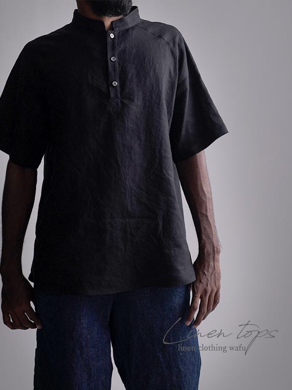 リネンスタンドカラーシャツトップス 男女兼用 やや薄地/黒色 t038k-bck1