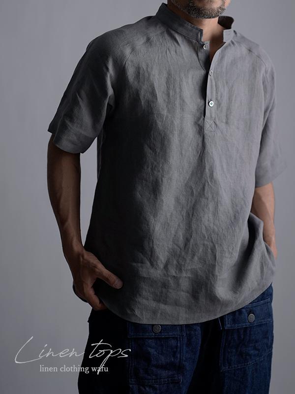 リネンスタンドカラーシャツトップス 男女兼用 やや薄地/にび色 t038k-nib1